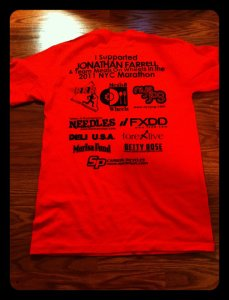 T-shirts given out to fundraising contributors.