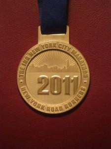 20111 NYC Marathon Finisher Medal