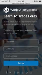 WorldWideMarkets Webinar Landing Page - Mobile