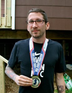 With my medal.