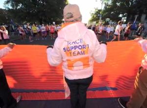 Hartford Marathon starting line. I'm right next to volunteers right shoulder