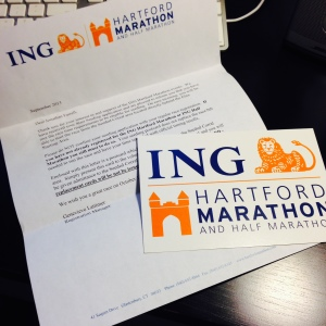Seeded start invitation I received from Hartford Marathon