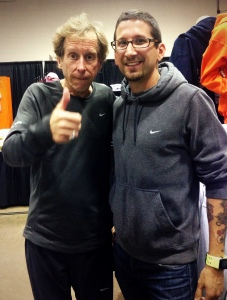 With Bill Rodgers before the race