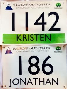 Our bibs. 15K and marathon.