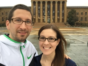 """After running up the """"Rocky steps""""."""