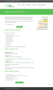 Goal Program After School Program Page