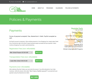 Goal Program Payments Page