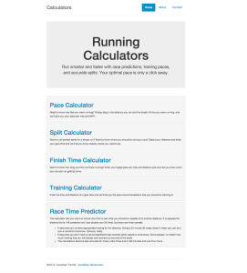 Running Calculators Home – Desktop