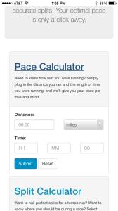 Running Calculators Example – Mobile Web